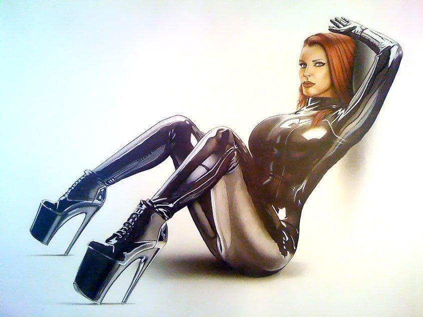 Ilustracion erótica de Bianca Beauchamp Latex Pin Up con aerografia y técnicas mixtas. Erotic illustration by Air Custom Paint.