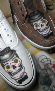 "Zapatillas con Calaveras Mexicanas ""Boda de Calaveras"" por Air Custom Paint 01"