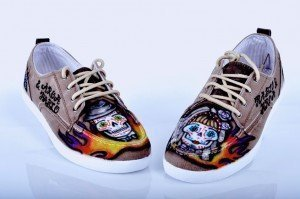"Zapatillas con Calaveras Mexicanas ""Boda de Calaveras"" por Air Custom Paint 03"
