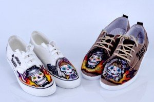 "Zapatillas con Calaveras Mexicanas ""Boda de Calaveras"" por Air Custom Paint 04"