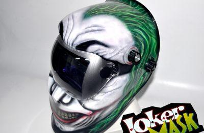 Aerografía de Joker en Mascara de Soldar