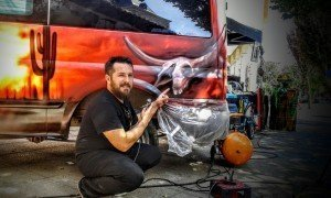 III SLN Custom Day Aerografía Animal Skull en Ford Transit